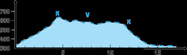 Laufen 17 km - Höhenprofil mit Verpflegungspunkten