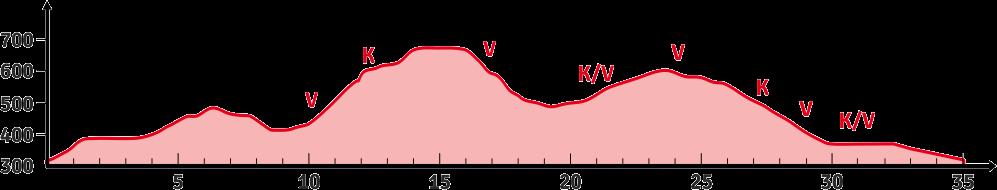 Laufen 35 km - Höhenprofil mit Verpflegungspunkten